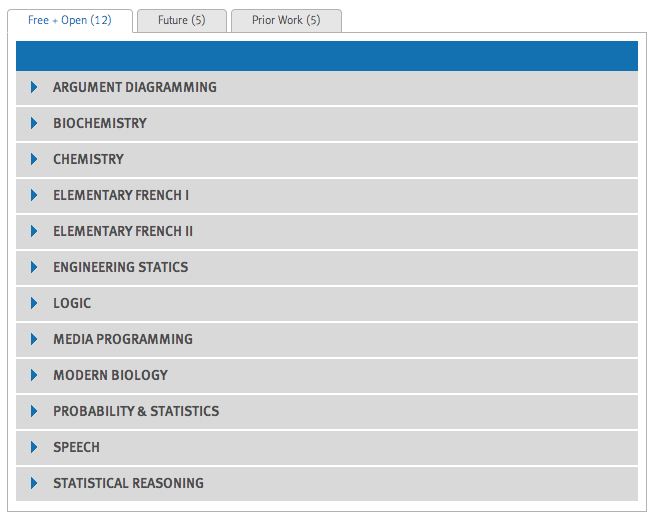 Screen cap of current course categories in Carnegie Mellon University's Open Learning Initiative (as of July 2012)   Click on the image to visit the CMU-OLI website