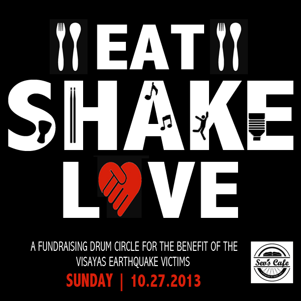SAVE THE DATE. Eat, Shake, Love on October 27, 2013 | Poster design by Niña Terol-Zialcita (2013)