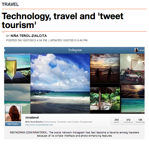 """Technology, travel and 'tweet tourism' by Niña Terol-Zialcita, published in Rappler.com"