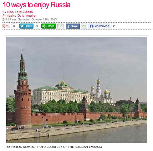 10 Ways to Enjoy Russia (Philippine Daily Inquirer)