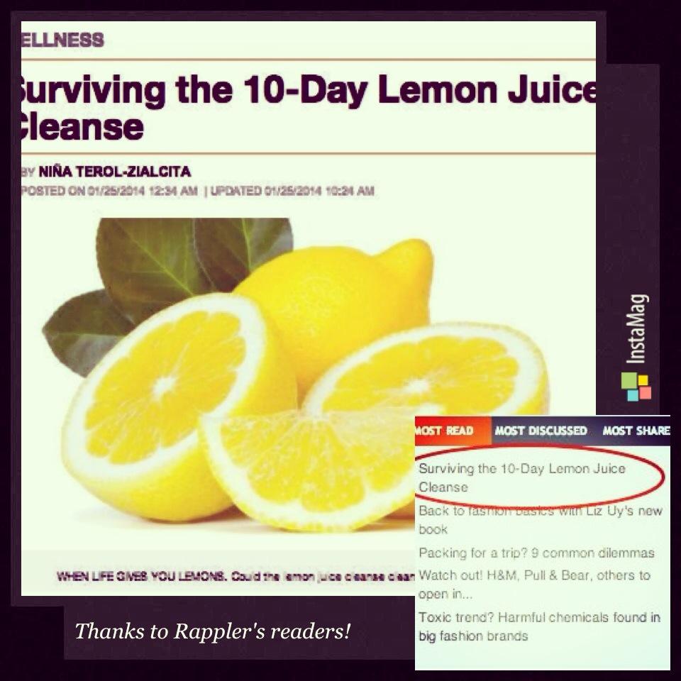 """Surviving the 10-Day Lemon Juice Cleanse"": A must-read on Rappler.com! :)"