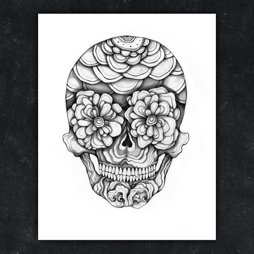 "DON'T BE SCARED. ""Skull 3"", pencil on smooth Bristol paper. Illustration by Sara Blake"