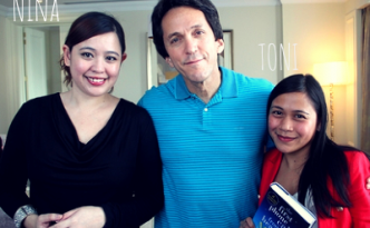 MEETING MITCH ALBOM IN MANILA: Niña Terol-Zialcita with best-selling author Mitch Albom & freelance photographer Toni Alvarez