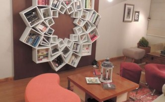 """Veronica's One-of-a-Kind Mandala Bookshelf House Call"" (Source: ApartmentTherapy.com, pinned by Jessica Jones on Pinterest)"